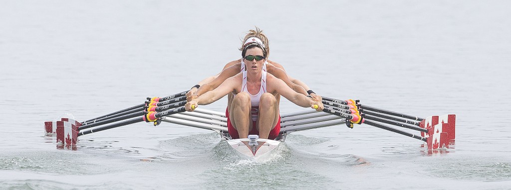 The Canadian crew of stroke Antje Von Seydlitz, Carling Zeeman, Kerry Shaffer and Kaye Goodfellow win the heat in the  Women's Quaruple Sculls, July 12, 2015 at the Royal Canadian Henley course for the Toronto 2015 Pan Am Games (Bob Tymczyszyn/St. Catharines Standard)